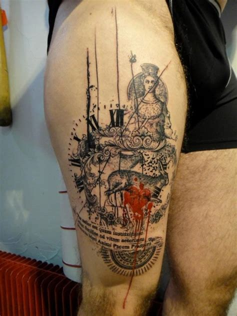 stunning thigh tattoo idea for men tattoos for men