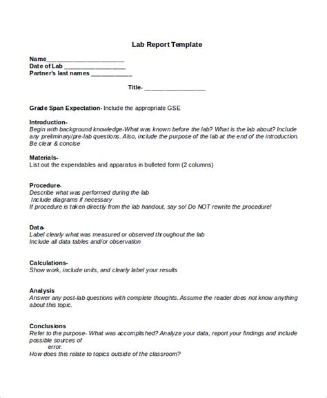 lab report template lab report template report template biology lab report