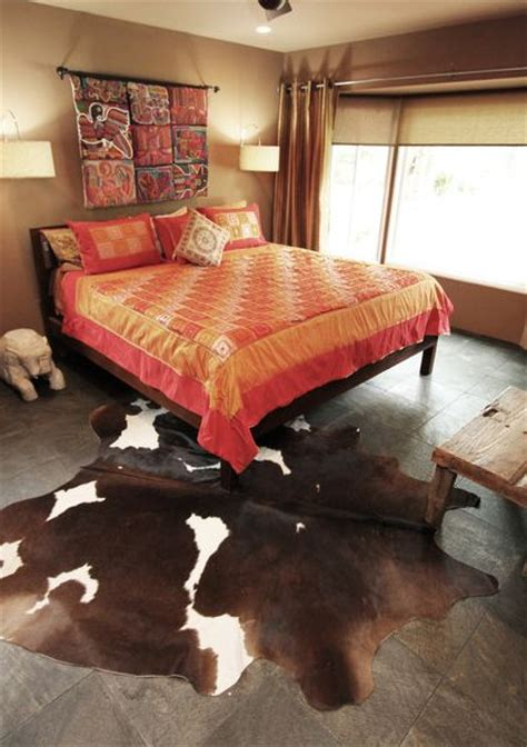 cowhide rug bedroom cowhide rugs and a few ways of using them in your interior