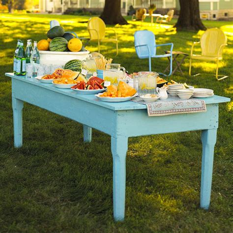 Open Buffet Table Outdoor Buffet Tips And Ideas From Better Homes And Gardens