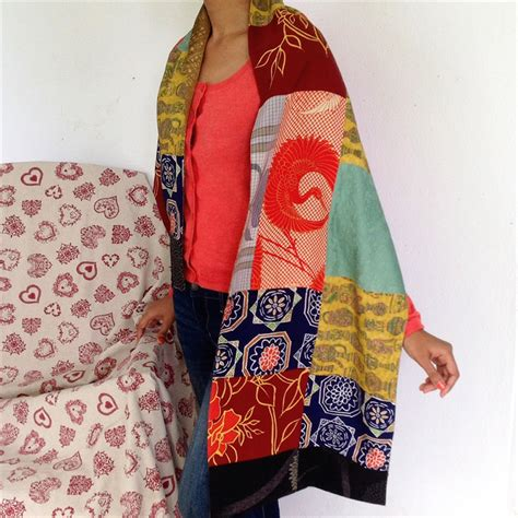 Silk Patchwork Scarf - 100 kimono silk patchwork scarf black borders