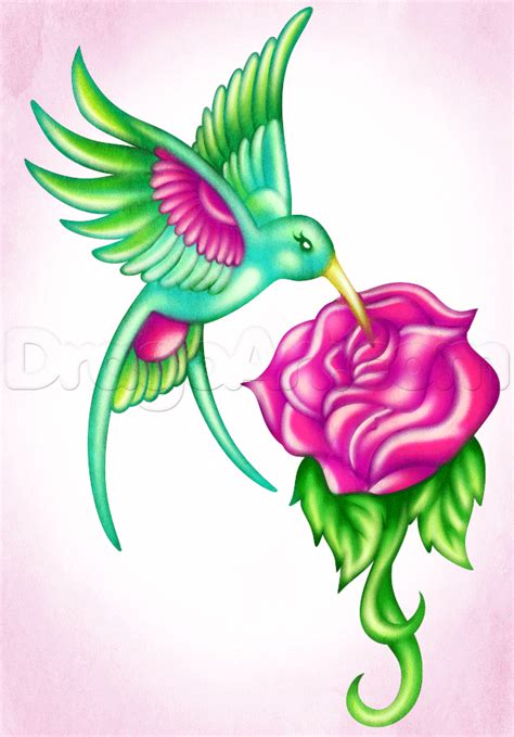 hummingbird with rose tattoos how to draw a hummingbird step by step tattoos