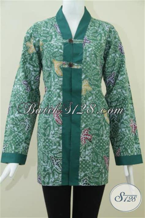 F20217004mot1 Xl Blus Batik Tulis Panjang Atasan Batik Kantor Murah batik wanita lengan panjang warna hijau blus batik wanita