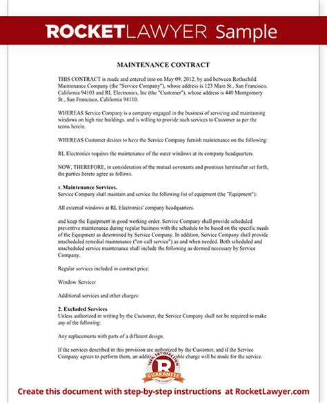 contract service agreement template maintenance contract maintenance service contract