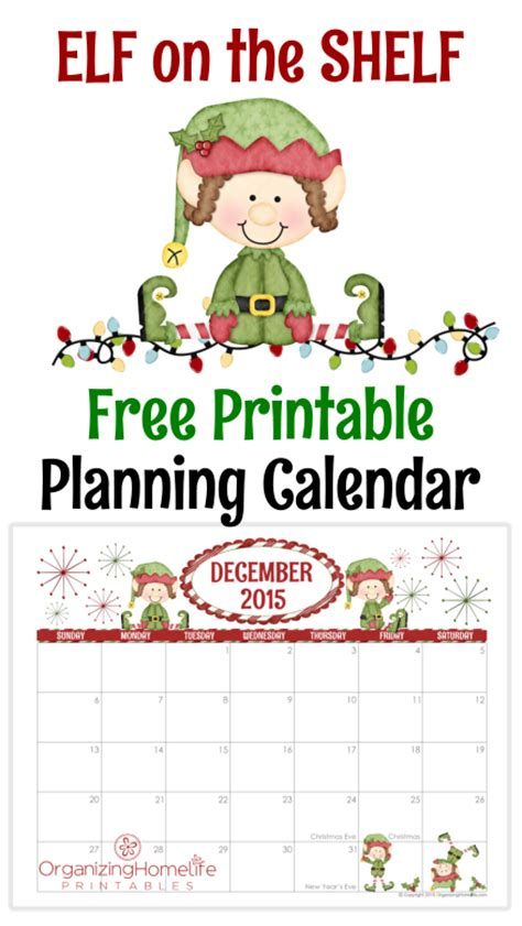free printable elf on the shelf calendar elf on the shelf free printable planner calendar