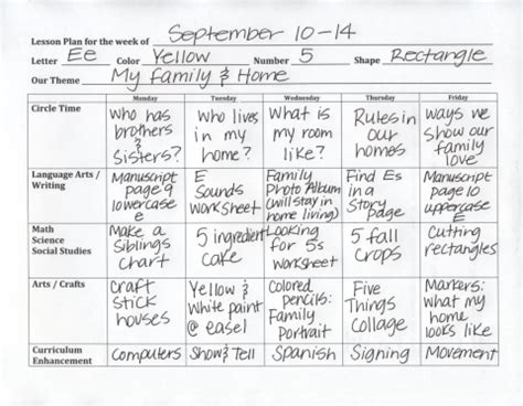 Pre K Lesson Plan Sle Click On The Red Sentence At The Beginning Of This Post For The Blank Pre K Daily Lesson Plan Template