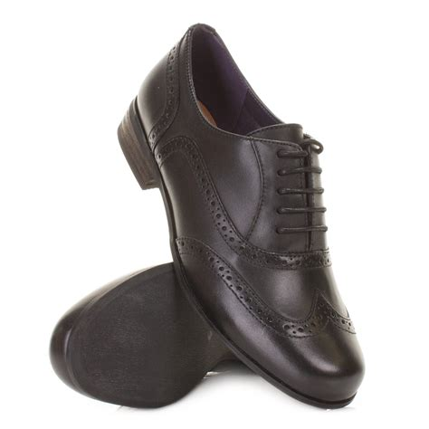 womens clarks hamble black leather lace up brogue work
