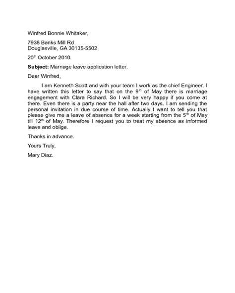 leave application letter format in pdf leave application letter sle pdf cover letter