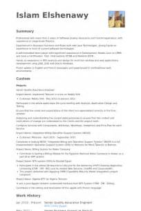 quality assurance engineer resume sles visualcv