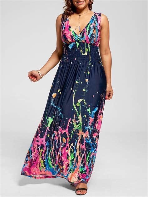 multi 4xl empire waist sleeveless plus size maxi splatter print dress rosegal