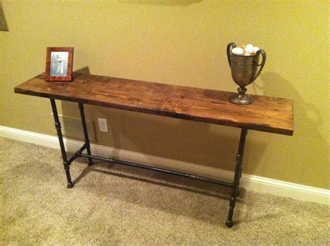 Reclaimed Distressed Wood Black Iron Pipe Table Console