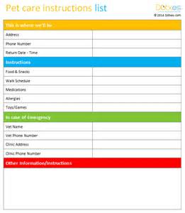 pet templates pet care list template dotxes
