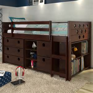 loft bed with storage d780dcp circles loft bed with storage cappuccino or white