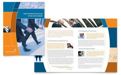 professional booklet template investment services brochure template design