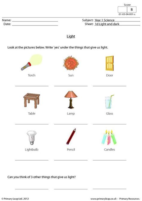 Light Worksheet Answers by Light Primaryleap Co Uk