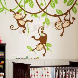 Monkey Wall Murals Silly Hanging Monkeys Wall Decal