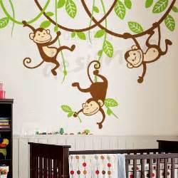 monkey wall stickers for nursery wall decor nursery baby vine branch children by