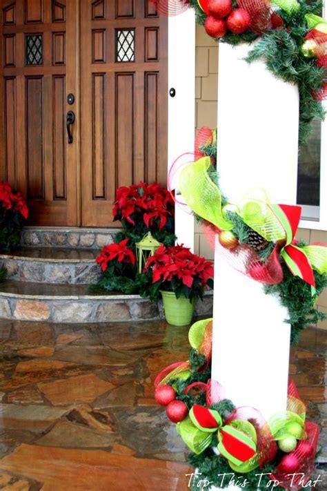 15 sensational front door decor with lovely poinsettias