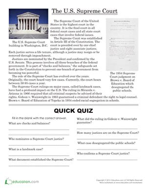 Our Courts The Judicial Branch Worksheet