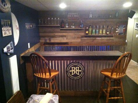 pallet wood  corrugated steel bar home pinterest