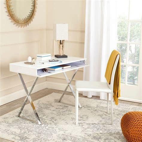 white and chrome desk safavieh gordon white chrome desk fox2217a the home depot