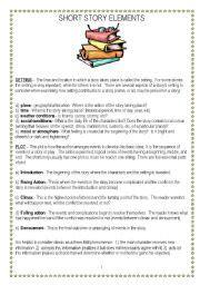 english worksheet short story elements