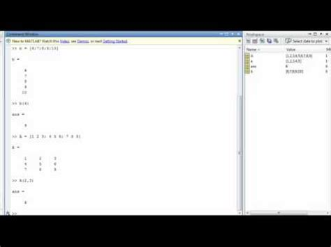 matlab tutorial vector matlab tutorial 4 matlab vectors and matrices doovi