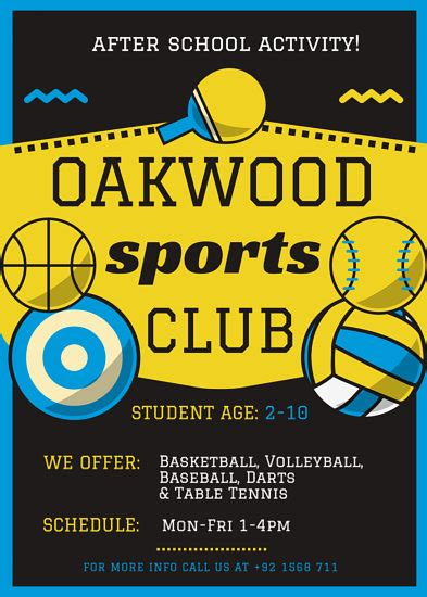Blue And Yellow Sports Flyer Templates By Canva Canva Flyer Template