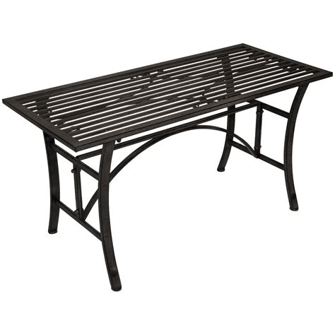 Wrought Iron Patio Coffee Table Charles Bentley Wrought Iron Coffee Table Outdoor Patio Garden Metal Table Grey Ebay