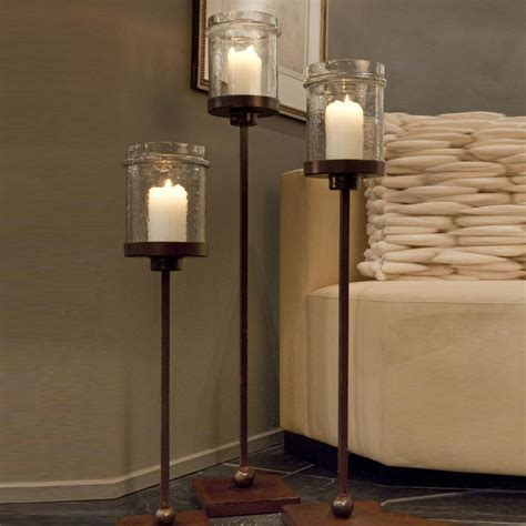 kerzenhalter boden dessau home me223 iron floor candle holder with hammered