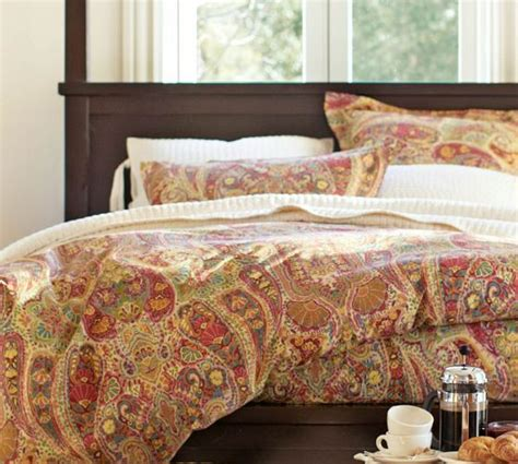 pottery barn king comforter rosalie paisley duvet cover full queen red for the