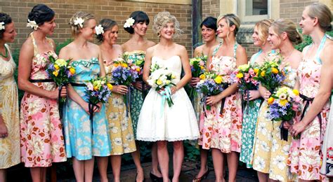 vintage bridesmaid dresses with floral accentcherry