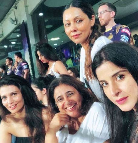ranbirs hair line gauri khan poses with her girl gang at the ipl match in