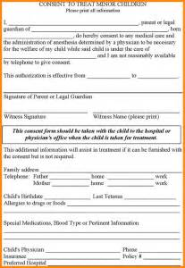 permission to treat form template 8 release form for children model resumed