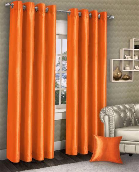 Orange Linen Curtains Stylish Ring Top Eyelet Lined Curtains Plain Faux Silk Orange Colour