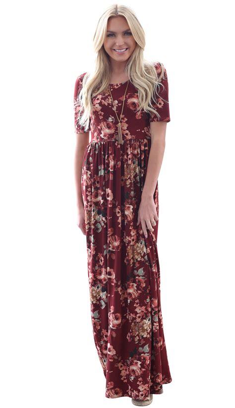 Maxi Miranda miranda modest maxi dress in burgundy w floral