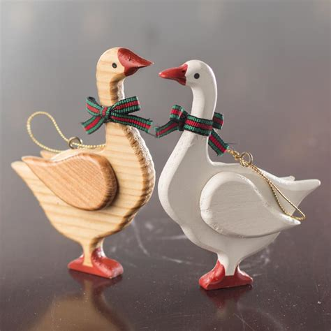 wood christmas goose ornament christmas ornaments