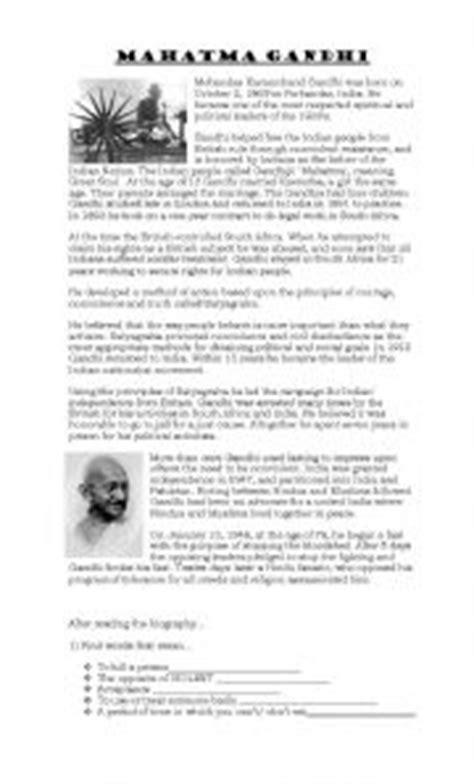 gandhi biography questions english teaching worksheets gandhi