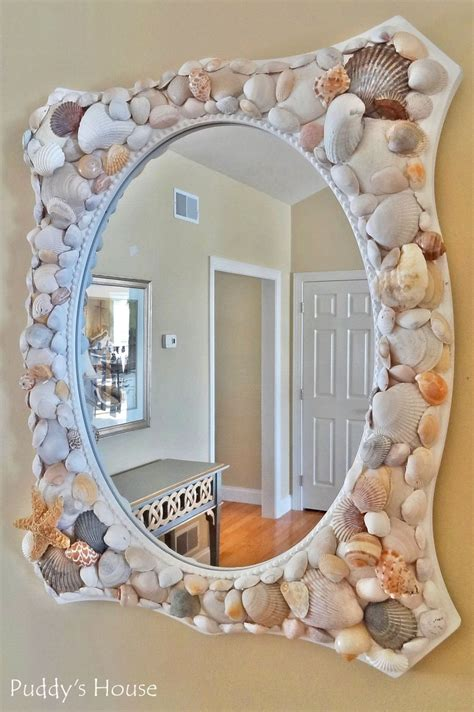 outstanding beachy bathroom diy shell mirror shell seashell crafts that bring the beach into your home