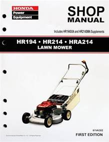 Honda Manuals Honda Hr194 Hr214 Hra214 Lawn Mower Service Repair Shop