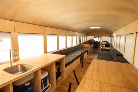 architecture student converts school bus into mobile home
