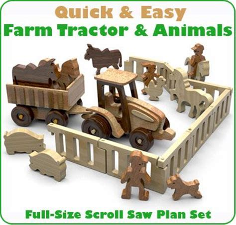 quick easy farm tractor  animals wood toy plans