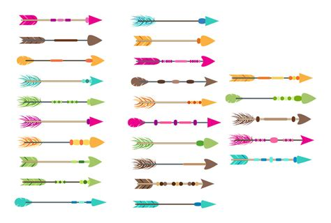 Colourful Basic Clip 25 colorful arrows clipart tribal arrow clipart boho