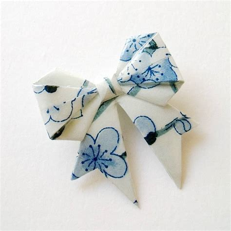 Snow Origami - snow blossom washi paper origami bow brooch by matin lapin