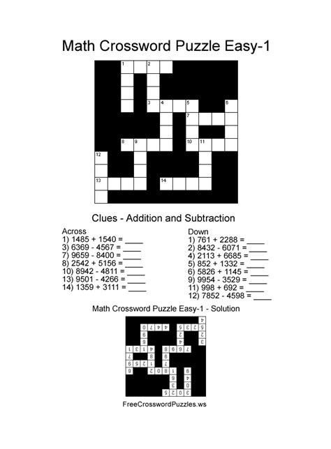 easy crossword puzzles maths math crossword puzzle easy one free math crossword puzzles