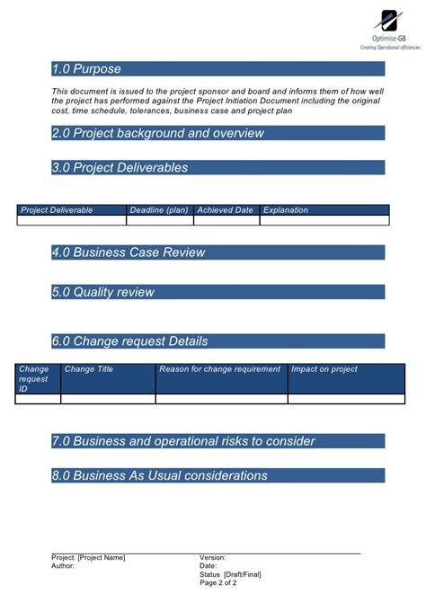 end of project report template project end report project management template