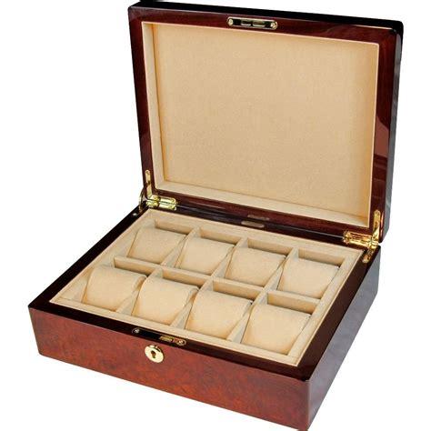 watch armoire makah burl wood 8 watch storage box with lock hillwood