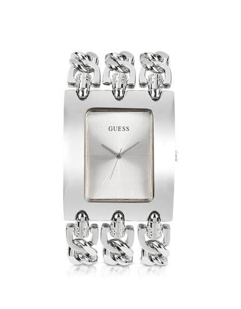 Guess W0810l1 Bracelet Silver Stainless Steel New lyst guess heavy metal stainless steel chain bracelet in metallic