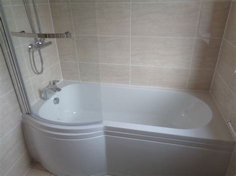 bathtub in shower remove corner bath and fit p shaped shower bath