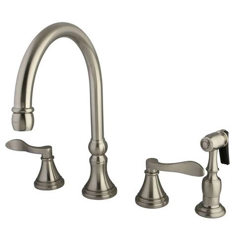 kingston kitchen faucets kingston brass 2 handle standard kitchen faucet with side sprayer in satin nickel